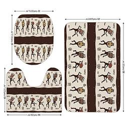 3 Piece Bathroom Mat Set,Primitive,Ethnic Dancing People Wea