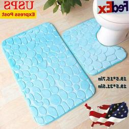 Bathroom Rug Set of 2 U-Shape Toilet Floor Mat + Bath Mat No
