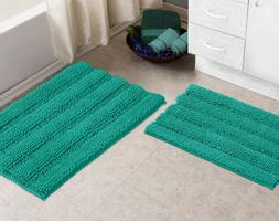 Bathroom Rugs By Zebrux Set Of 2 extra-Soft Striped Non-Slip