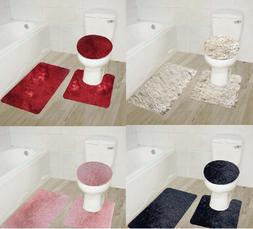 BATHROOM SET BATH MAT CONTOUR RUG TOILET LID COVER NEW IN SO