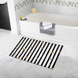 InterestPrint Black and White Striped Pattern with Gold Glit