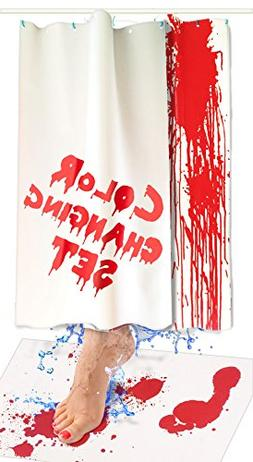 Bloody Bath Mat and Shower Curtain Set – Color Changing Fa