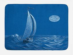 blue bath mat nautical sail boat ship
