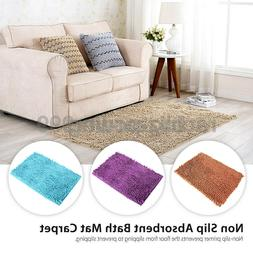 Blue/Brown/Purple Microfiber Shaggy Non Slip Absorbent Bath