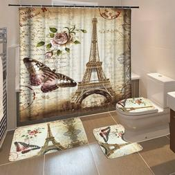 "Butterfly Eiffel Tower Polyester 71''x79"" Shower Curtain+3PC"