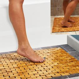 Luxury Multipurpose Bamboo Bath Mat For Shower Spa Sauna wit