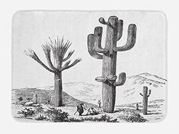 Ambesonne Cactus Bath Mat by, Sketchy Hand Drawn Print of De