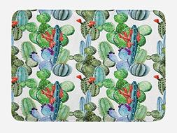 Ambesonne Cactus Bath Mat by, Different Cactus Types in Wate