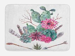 Ambesonne Cactus Bath Mat by, Exotic Natural Vintage Style W