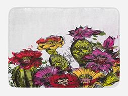 Ambesonne Cactus Bath Mat by, Watercolor Painting Style Pott