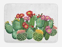 Ambesonne Cactus Bath Mat, Saguaro Barrel Hedge Hog Prickly