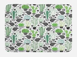 Ambesonne Cactus Bath Mat, Cartoon Style Inspired Drawing of