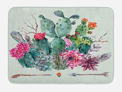 Ambesonne Cactus Bath Mat, Spring Garden with Boho Style Bou