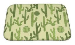 Cactus Pattern Bath Mat | Bathroom Decor Rug | Desert & Plan