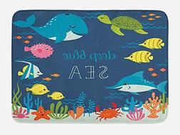 Ambesonne Cartoon Bath Mat by, Artsy Underwater Graphic with