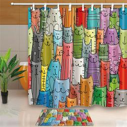 Cartoon Cute Cat Waterproof Polyester Bathroom Decor Shower
