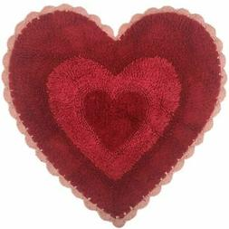 Celebrate Pretty Heart Shaped Red & Pink Bath Rug with Croch