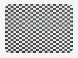 Ambesonne Checkered Bath Mat, Monochrome Composition with Cl