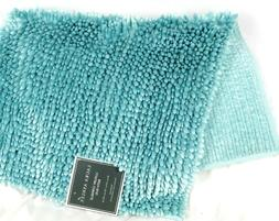Chenille Bath Rug Mat Laura Ashley Aqua Blue Bathroom Luxury