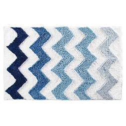 "InterDesign Chevron Microfiber Rug, 34"" x 21"", Blue/Multicol"