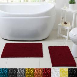 Estex Home Chicago Butter Chenille 2 Piece Bathroom Rug Set