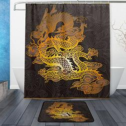 Franzibla Chinese Dragon Shower Curtains 60 x 72 inch Polyes