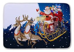 Izielad Santa Claus Elk Bathroom Mat Washable Bath Rug for F