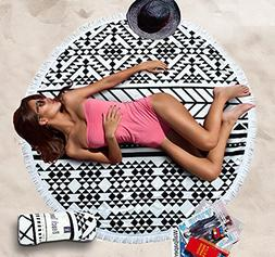 Clearance!Cotton Thick Round Beach Towel - GreForest Ultra