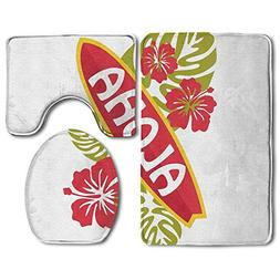 Hexu Collection Aloha Text On Surfboard With Tropical Flower