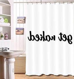 LB Get Naked Shower Curtain Funny Bold Font Black and White