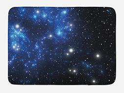 Ambesonne Constellation Bath Mat, Outer Space Star Nebula As