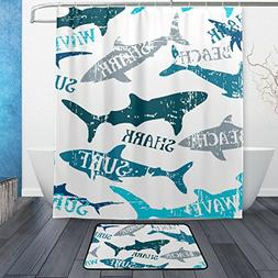 Cooper girl Watercolor Shark Waterproof Shower Curtain and D