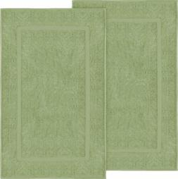Utopia Towels Cotton Banded Bath Mats, 2 Pack , Sage Green