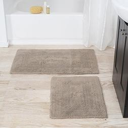 Lavish Home 100% Cotton 2 Piece Reversible Rug Set - Taupe