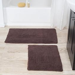 Cotton Bath Mat Set- 2 Piece 100 Percent Cotton Mats- Revers