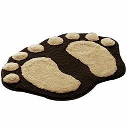 Sothread Creative Non-slip Soft Foot Shaped Plush Mat Bath T