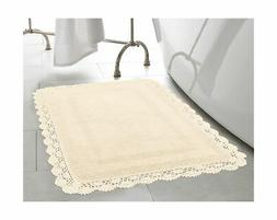 Laura Ashley Crochet Cotton 17x24/21x34 in. 2-Piece Bath Rug