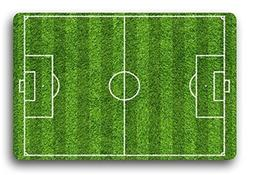 Custom Green Football or Soccer Fields Bath Mats and Rugs, P