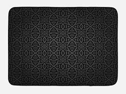 Dark Grey Bath Mat by Ambesonne, Medieval Folkloric Ornament