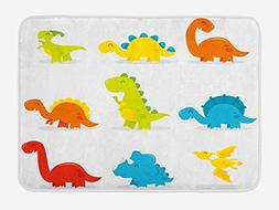 Ambesonne Dinosaur Bath Mat by, Cute and Funny Dinosaurs Set