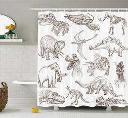 Ambesonne Jurassic Shower Curtain, Arrangement of Various Di