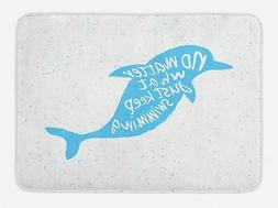 "Dolphin Bath Mat Bathroom Decor Plush Non-Slip Mat 29.5"" X 1"