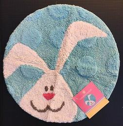 "EASTER BUNNY RUG Bath Mat Round 22"" Cotton ~ Blue Kitchen Nu"
