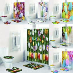 Easter Eggs Fabric Shower Curtain Set Spring Flowers Toilet