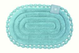 Echo Oval Aqua Spa Blue Cotton Bath Mat Rug with Crochet Bor