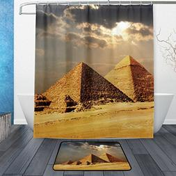 Franzibla Egyptian Sphinx And Pyramid Shower Curtains 60 x 7