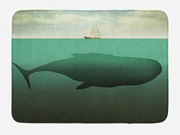 Ambesonne Fantasy Bath Mat, Surreal Giant Whale in The Middl