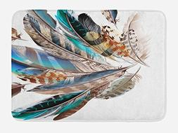 Ambesonne Feathers Bath Mat, Vaned Types and Natal Contour F