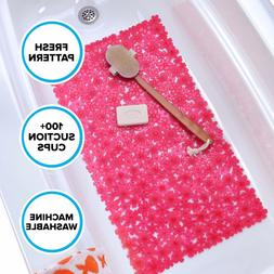 SlipX Solutions Pink Field of Flowers Bath Mat Provides Reli