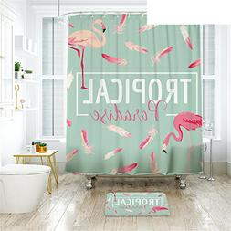 flamingo shower curtain waterproof polyester